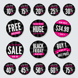 Black Friday Retail Stickers Stock Photos