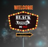 Black Friday retro light frame Stock Image