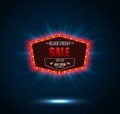 Black Friday retro light frame. Illustration of Black Friday retro light frame Royalty Free Stock Image
