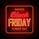 Black Friday retro light frame. Vector illustration Royalty Free Stock Image
