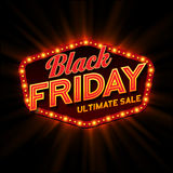 Black Friday retro light frame. Vector Royalty Free Stock Photography