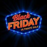 Black Friday retro ljus ram vektor Fotografering för Bildbyråer