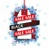 Black Friday Ribbon Price Sticker Blue Snowflakes Stock Photography