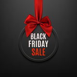 Black Friday round banner with red ribbon and bow. Black Friday round banner with red ribbon and bow, on black background. Brochure or banner template. Vector Stock Image