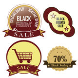 Black friday's icons Stock Photos