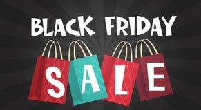 Black Friday Sale över meddelande för rabatt för ferie för bakgrund för shoppingpåsar vektor illustrationer