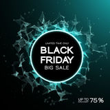 Black Friday sale abstract background. Futuristic technology style. Big data. Design with plexus. Vector illustration Stock Photos