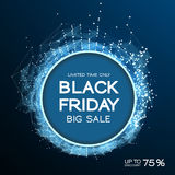 Black Friday sale abstract background. Futuristic technology style. Big data. Design with plexus. Stock Photo