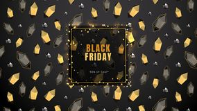 Black Friday, Sale Abstract Dark Background With Frame, Glowing Lights, Polygonal Contours And Golden Shapes, Can Be Stock Photo