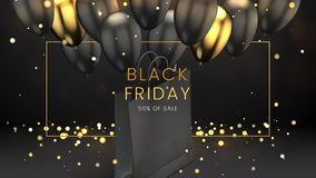 Black Friday, Sale Abstract Dark Background With Glowing Lights, Golden Frame, Balloons And Shopping Bag, Can Be Used Stock Photography