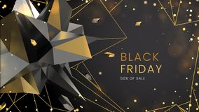 Black Friday, Sale Abstract Dark Background With Polygonal Shapes, Contours And Glare, Can Be Used For E-commerce Stock Image