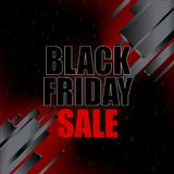 Black friday sale with abstract elements on black background. Vector illustration. Stock Photo
