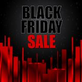 Black friday sale with abstract red elements on black background. Vector illustration. Stock Photos