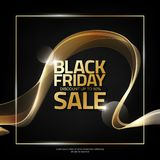 Black Friday Sale on abstract shiny gold wave stripe background, design element for design template, vector illustration Royalty Free Stock Photos