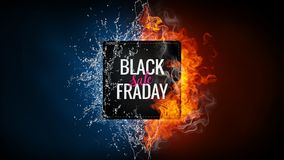 Black friday sale advertising banner. Black friday sale advertising banner with hand lettered element on the background with fire flame, water splashes and Royalty Free Stock Image
