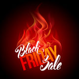 Black friday sale. Advertising inscription with fire. Black Friday banner. Very Hot Sale Concept. Vector stock template for your business design Stock Photo
