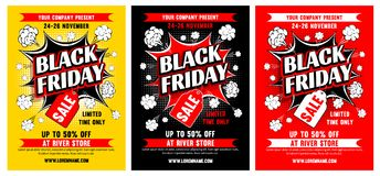 Black friday sale. Advertising template set for your business design. Black Pop art style. Vector illustration Stock Photos