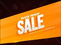 Black Friday Sale affisch med 20-50% Cashback som annonserar banne royaltyfri illustrationer