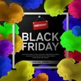 Black Friday Sale affisch med det färgrika molnet på svart bakgrund med den fyrkantiga ramen också vektor för coreldrawillustrati Arkivbild