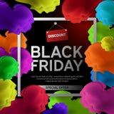 Black Friday Sale affisch med det färgrika molnet på svart bakgrund med den fyrkantiga ramen också vektor för coreldrawillustrati Royaltyfria Foton