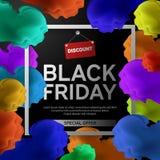 Black Friday Sale affisch med det färgrika molnet på svart bakgrund med den fyrkantiga ramen också vektor för coreldrawillustrati Royaltyfri Bild