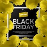 Black Friday Sale affisch med det gula molnet på svart bakgrund med den fyrkantiga ramen också vektor för coreldrawillustration Royaltyfria Bilder