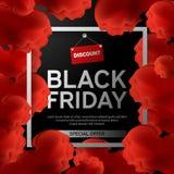 Black Friday Sale affisch med det röda molnet på svart bakgrund med den fyrkantiga ramen också vektor för coreldrawillustration Fotografering för Bildbyråer