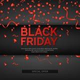 Black Friday Sale affisch med rött slingrande och konfettier på svart bakgrund också vektor för coreldrawillustration Royaltyfri Foto