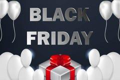 Black Friday Sale affisch med skinande ballonger på mörk bakgrund med gåvaasken Royaltyfri Illustrationer