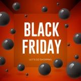 Black Friday Sale affisch med skinande ballonger på röd bakgrund Arkivfoto