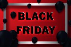Black Friday Sale affisch med skinande ballonger på röd bakgrund med den fyrkantiga ramen Vektor Illustrationer