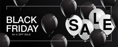 Black Friday Sale affisch med skinande ballonger på svart bakgrund Fotografering för Bildbyråer