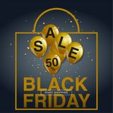 Black Friday Sale affisch med skinande ballonger på svart bakgrund Arkivbild