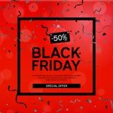 Black Friday Sale affisch med slingrande och konfettier på röd bakgrund med den fyrkantiga ramen också vektor för coreldrawillust Fotografering för Bildbyråer