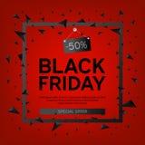 Black Friday Sale affisch med trianglar på röd bakgrund med den fyrkantiga ramen också vektor för coreldrawillustration Fotografering för Bildbyråer