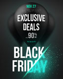 Black Friday Sale Air Balloon Poster Template with Explosion Eff Stock Images
