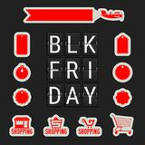 Black Friday Sale. Analog Flip Clock Letters. A Set. Of Labels and Icons Black Friday Related in Different Forms. Vector Illustration stock illustration
