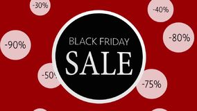 Black Friday Sale animated sign. Black on red. royalty free illustration