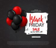 Black friday sale background with balloons. Modern design.Universal vector background for poster, banners, flyers, card. Black friday sale background with Stock Photos