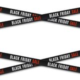 Black friday sale background. Black friday sale banners. Warning tapes, ribbons on white background. Template for brochure, poster or flyer Vector illustration Royalty Free Stock Images