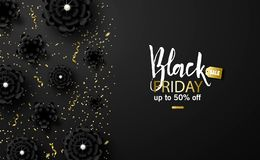 Black friday sale background with beautiful black flowers and gold serpentine. Modern design.Universal vector background stock illustration