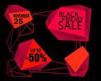 Black Friday Sale  background. Black background with red design elements Stock Photo