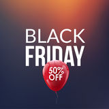 Black Friday Sale background. Discount balloon 50 percents. Special offer backdrop. New year discounts. Stock Photos
