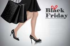Black Friday sale background with elegant shopping woman. And shopping bags. Vector stock illustration