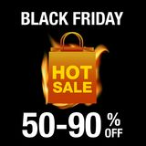 Black friday Sale background. Fire, shopping bag and sale text on black background Stock Photos