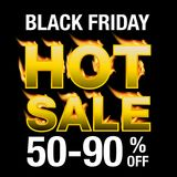 Black friday Sale background. Fire, and sale text on black background Stock Photo