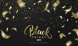 Black friday sale background with gold serpentine. Modern design.Universal vector background for poster, banners, flyers royalty free illustration