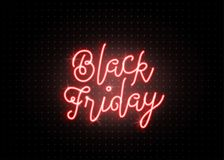Black friday sale background. Luminous light red text lettering sign Royalty Free Stock Photos