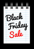 Black friday sale background with notepad Stock Image