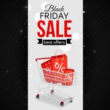 Black friday sale background with photorealistic. Shopping cart and place for text. Vector illustration vector illustration